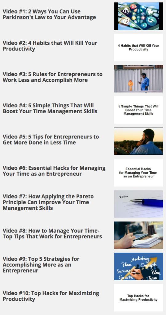 Time management for entrepreneurs - videos