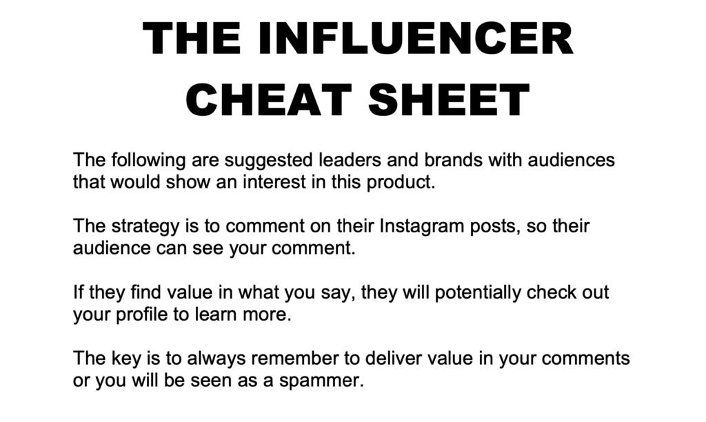 The Influencer Cheat Sheet Version 2