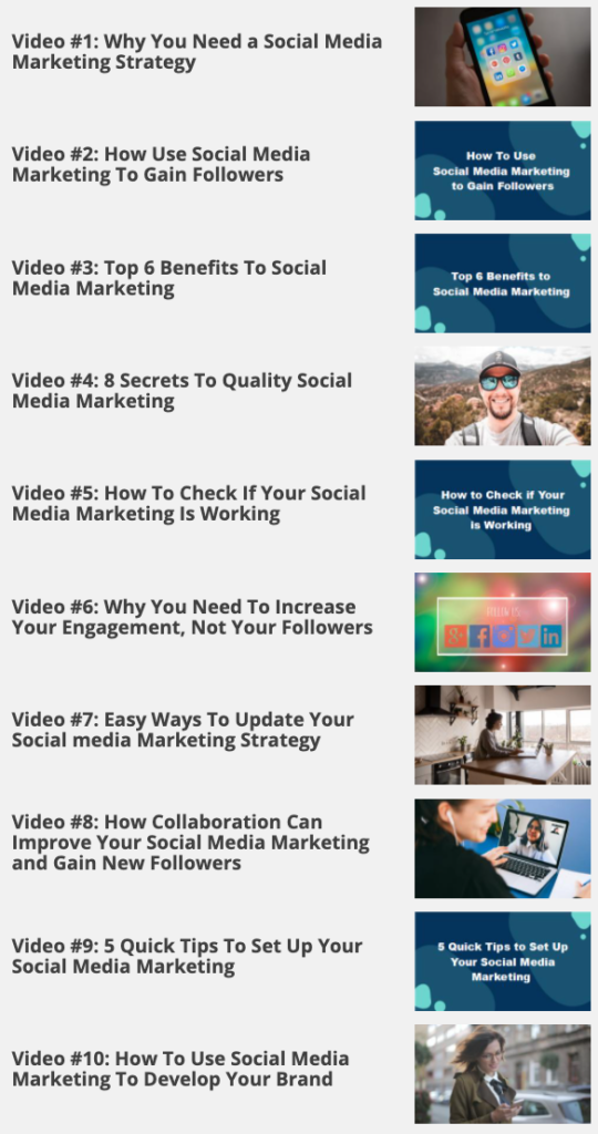 Social Media Marketing Made Easy - Video inclusions