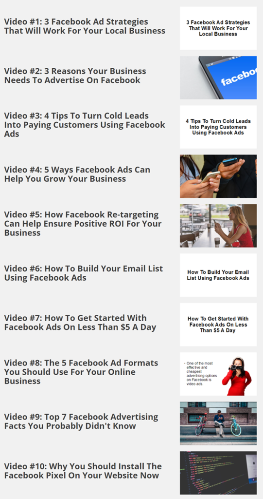 Facebook Ads Domination Video Chapters