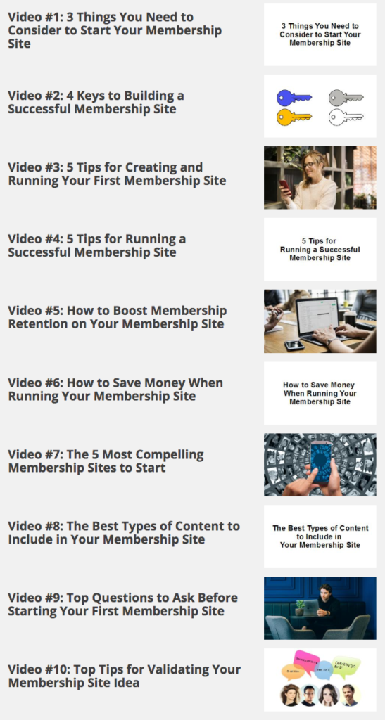 Your First Membership Site - Video Parts